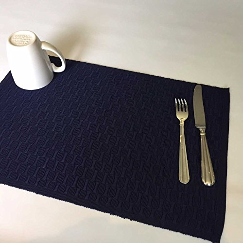 Blue Placemats for Dining Table Decor Table Linens Place Mats Patio Decor Table Mats Polyester Machine Wash Reversible Set of 4