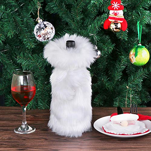 AerWo Faux Fur Wine Bottle Bag, White Christmas Wine Bottle Cover for  Winter Holiday Party 9fc480189d