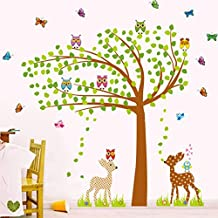 Green Leaves Tree Birds Butterflies Deers Wall Decal Home Sticker Paper Removable Living Room Bedroom Art Picture DIY Mural Girls Boys kids Nursery Baby Playroom Decoration + Gift Colorful Butterflies