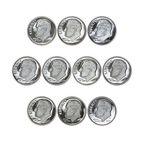 (2000-2009 S Proof Roosevelt Dime Run Gem DCAM CN-Clad 10 coins)