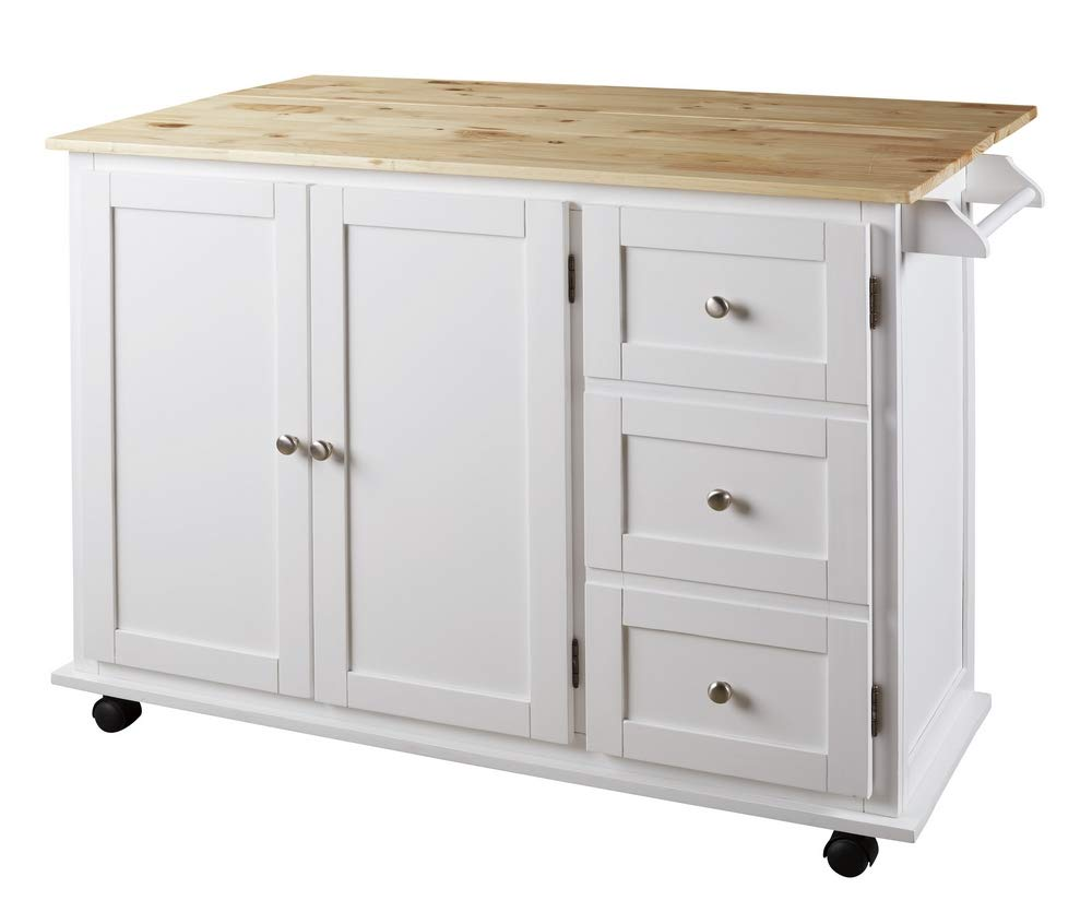 Signature Design By Ashley – Withurst Kitchen Cart with Cabinet – Casual Style – White Brown
