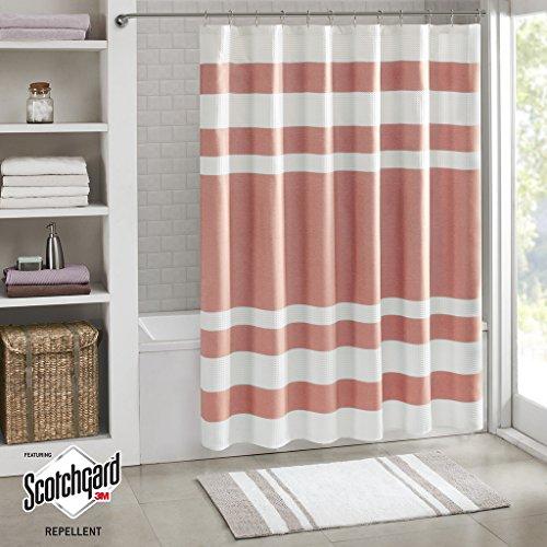 E&E Co Spa Waffle Shower Curtain with 3M Treatment Coral 72x72
