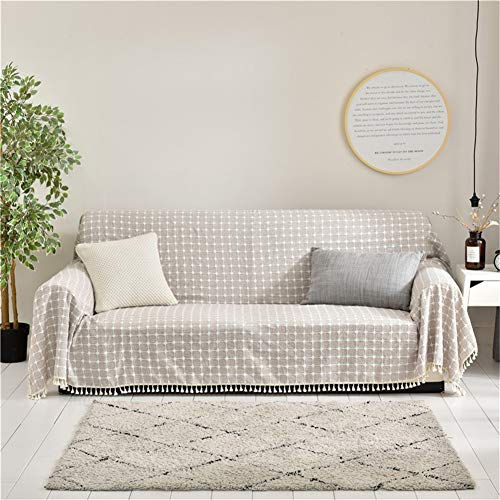 CoutureBridal Beige Seater Linen Sofa Covers Plaid Pattern Sofa Slipcovers Furniture Protection Cover Linen Leather Couch Covers 79x141
