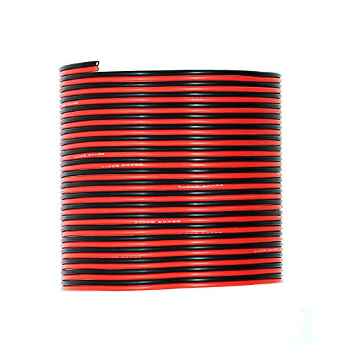 Hook up Silicone Wire [30ft total, 15 ft Red and 15ft Black] - UTUO 22 Gauge Stranded Tinned Copper Conductor Wire, Soft Flexible Heat Resistant Silicone insulated Wire Cords