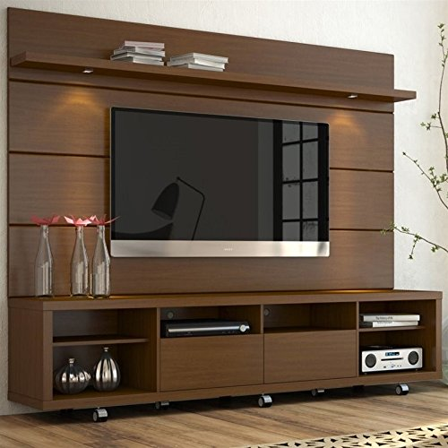 Manhattan Comfort Cabrini 70u0027u0027 TV Stand U0026 Floating Wall TV Panel 2.2, Nut