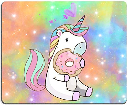 Donut Unicorn Square Mouse Pad Non Slip Rubber Base Women Girl Mousepads For Computers Laptop Office 95x79x012 Inch240mm X 200mm X 3mm