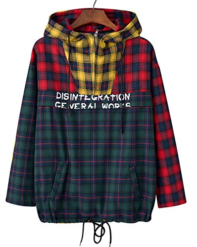 - OXFLY Men's Hip-Hop Patchwork Plaid Pullover Hoodie Streetwear,Plaid,Large