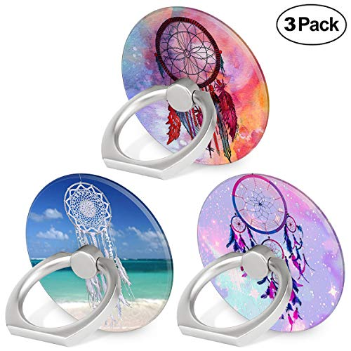 Finger Ring Stand, 360 Degree Rotation Universal Phone Ring Holder Grip Kickstand Mount Bracket Compatible Smartphones Tablet and Phone Case - Dream Catcher, 3-Pack (Stand Degree Rotation 360)