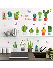 Cactus Bloempot Muurstickers voor Woonkamer Bed Kamer Klas Badkamer Muurdecoratie Verwijderbare Vinyl Art muurstickers