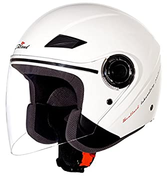 Scotland Casco Moto/Scooter con Visera Larga Force 03, Blanco Brillante, 61-
