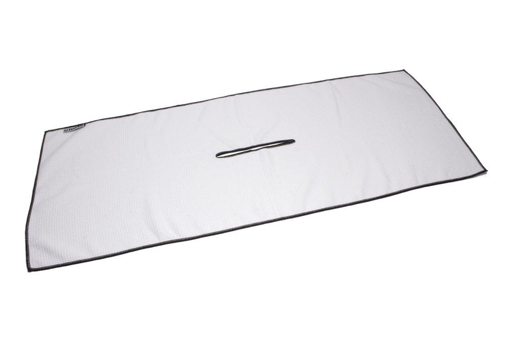 Center Cut Microfiber Golf Towel 16''x40'' (White w/Black Edge) by Clothlete