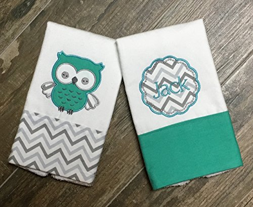 Owl 2 Embroidery (Two Owl Embroidered, Appliqued, Personalized Burp Cloths, Grey and Aqua Chevron burp cloth, Boutique Burp Cloth)