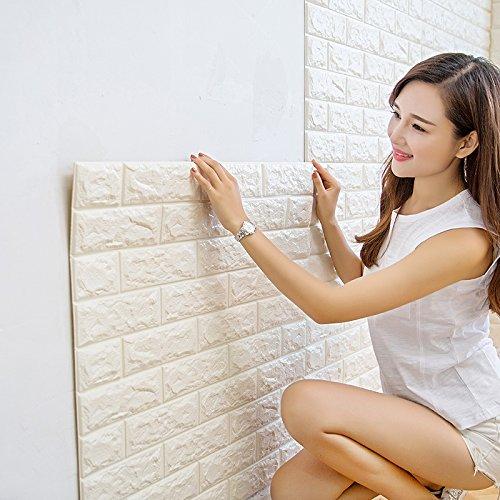 【Hilax】 3D壁紙パネル 3Dウォールステッカー (厚手タイプ) 立体自己粘着シール ホワイトレンガ調 70cm×77cm DIY (⑦ 90枚セット) B07BGT31K9 ⑦ 90枚セット ⑦ 90枚セット