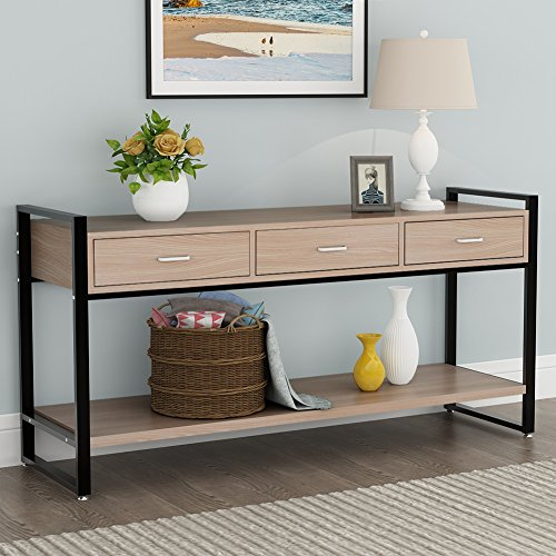Tribesigns 2-Tier Entryway Console Sofa Table with 3 Drawers and Storage Shelf for Living Room, Hallway, Oak Finish/Black Metal (Oak Finish Sofa Table)