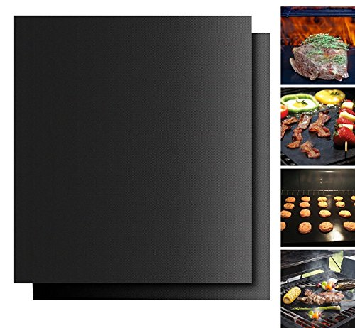 BBQ Grill Mat Set oNon-Stick,FDA-Approved Baking Mats,Reusable And Easy to Clean,Works On Gas,Charcoal,Electric Grill And More,15.75 X 13 Inch,Black set of 2
