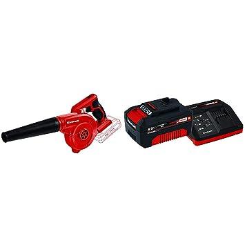 Einhell TE-CB 18/78 Li-Solo Soplador Inalámbrico 0 W, 18 V, Negro/Rojo + 4512042 Kit con Cargador y batería de repuest, tiempo de carga: 60 Minutos