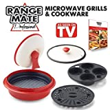 Range Mate Pro Deluxe Nonstick Microwave 5-in-1 Grill Pot/Pan Cookware Set As Seen On TV (Grill, Bake, Roast, Saute, Steam, Poach, & One Pot Meals)