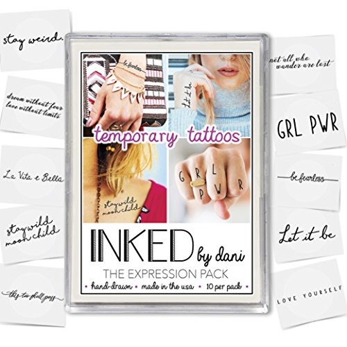 INKED by Dani Realistic Hand Drawn Temporary Tattoos - Expressions Pack (Lasts up to 2 weeks) by INKED by Dani