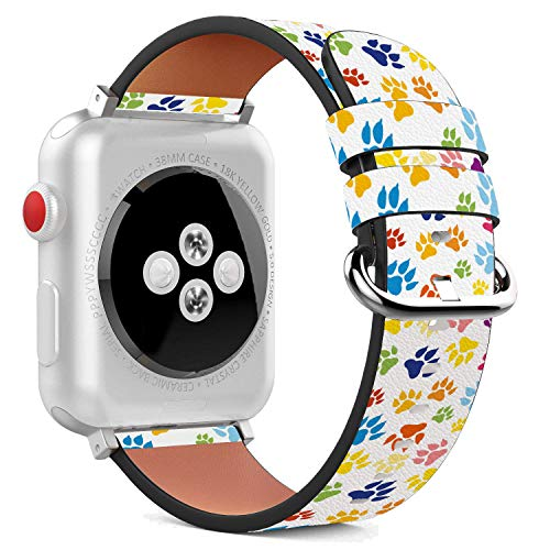 Compatible with Apple Watch - 42mm Leather Wristband Bracelet with Stainless Steel Clasp and Adapters - Cute Dog Paw Print