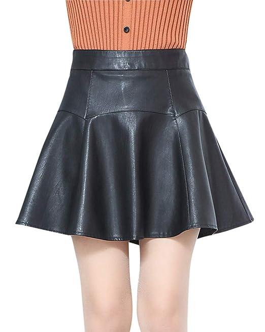 Quge Mujer Estilo Retro Plisada Falda De Cuero PU A-Line Mini Faldas Corta   Amazon.es  Ropa y accesorios e6d721c118ef