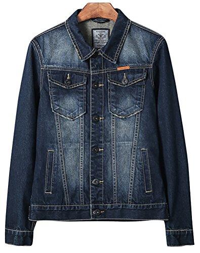 QZUnique Men's Plus Size New Stylish Coat Arrival Fashion Denim Jacket US ()