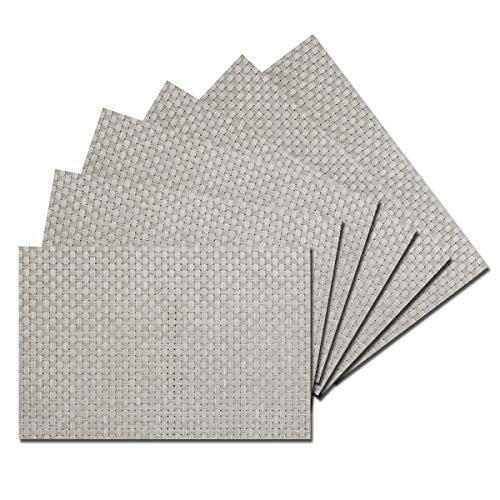 (Benson Mills Zaria Woven Vinyl Placemats (Silver/White, 13
