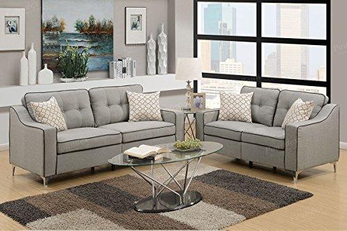 Advanced Contemperary Linen-Like 2 Piece Sofa and Loveseat Set, Light Grey