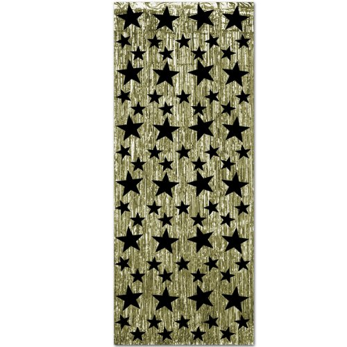 1-Ply FR Gleam 'N Curtain (gold w/prtd black stars) Party Accessory  (1 count) (Hollywood Red Carpet Theme Party Costumes)