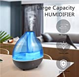 DONGSHEN Humidifiers for Bedroom, 1.7L Capacity Diffuser Ultrasonic Cool Mist Diffuser Humidifier, Portable Personal Humidifier 10-12 Hours (Black)