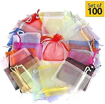 Hesky Bolsas de Organza de Regalo (100 Piezas, 10 Colores) - Bolsitas para Regalos, Favores de la Boda y Joyas (15 x 20 cm)