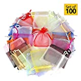 Hesky Organza Bags (100 pcs, 10 colors)-Drawstring Small Large Favour Bags-Perfect for Gift, Wedding Party, Jewellery Pouch (15 x 20 cm)