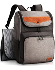 HapTim Diaper Bag Backpack with Stroller Straps, Changing Pad(AUGray+Brown-5309)