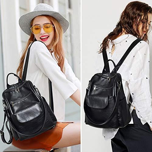 Women fashion black washed pu leather designer backpack best waterproof bookbag shoulder bag travel rucksack purse (Black【PU】)