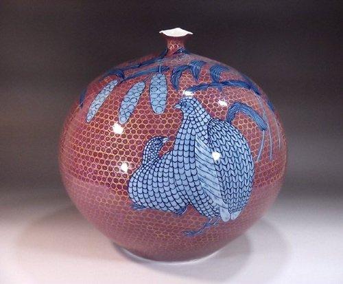 有田焼伊万里焼 花瓶陶器花器壺 贈答品 高級ギフト 記念品 贈り物 金彩鶉絵藤井錦彩 B00HVORJZ2