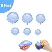 6 Pack Silicone Stretch Lids, Reusable Durable and Expandable Lids to Keep Food Fresh, Eco-Friendly Stretch for Container, Bowl and Cup in Dishwasher, Refrigerator and Microwave
