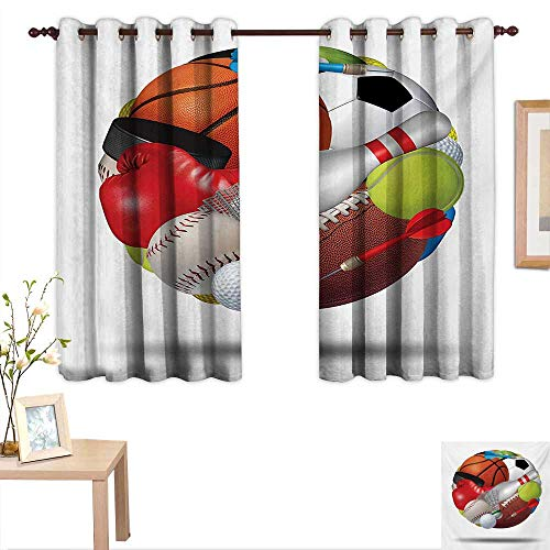 Sports Blackout Draperies for Bedroom Soccer Ball Combined with Other Sports Equipment Universal Hockey Darts Boxing Fun 55