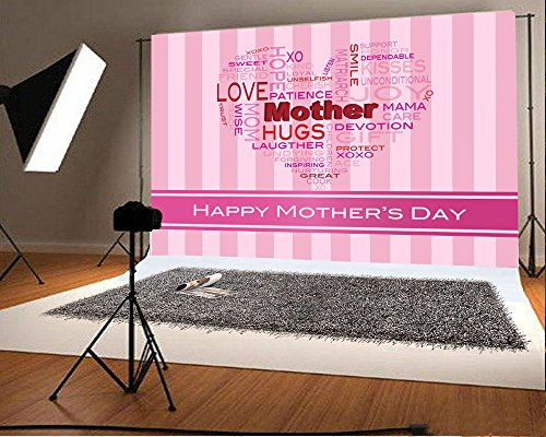 Laeacco 7x5FT Vinyl Photography Background Happy Mother's Day Love Smile Hugs Pink Stripes Backdrop Cartoon Greeting Card Poster Sweet Indoor Scene Baby Children Family Photo Backdrop Portraits Prop
