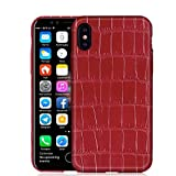 UU&T Upgrade Luxury Crocodile Belly Leather Case Lightweight Hardshell Back Case for iPhone X 5.8 Inch (Wine Red)