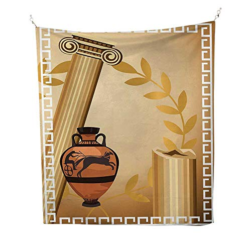 Vases Hindu - Toga Partywall Tapestry for bedroomAntique Greek Columns Vase Olive Branch Hellenic Heritage Icons 51W x 60L inch Beach tapestryLight Brown Cinnamon White