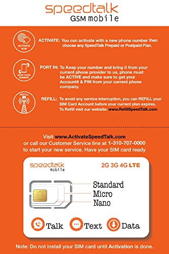 SpeedTalk Mobile Complete Multi-Purpose Triple Cut SIM Card Starter Kit - No Contract (Standard, Micro, - 2g Phone Gsm