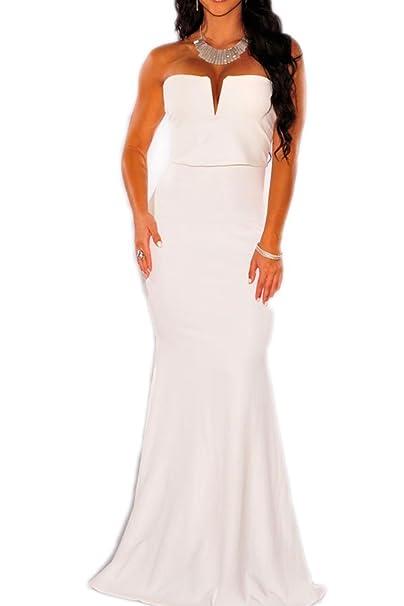 ca57876f3b5eb Toocool - Vestito lungo donna abito sirena scollato aderente elegante nuovo  sexy DL-1773  Taglia unica