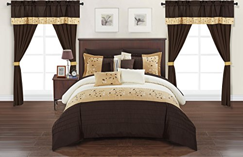Chic Home Sonita 20 Piece Comforter Set Color Block Floral Embroidered Bag Bedding-Sheets, King, Brown