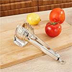 Best Utensils Tomato Slicer Lemon Cutter Multipurpose Handheld Round Fruit Tongs Stainless Steel Onion Holder Easy Slicing Kiwi Fruits & Vegetable Tools Kitchen Cutting Aid Gadgets Tool 17 GERMANY DESIGN: Unique germany design makes slicing fruits and vegetables more quickly and easily MULTI-PURPOSE: Conveniently designed slicing aid, perfect tool for any task in the kitchen, ideal for tomatoes, onions, lemon, citrus fruit & more! DURABLE & SAFETY: Made of 100% food grade 18/8 Stainless steel Material, eco-friendly, durable in use. Clamp design, multifunctional, also couble be used as food tongs.