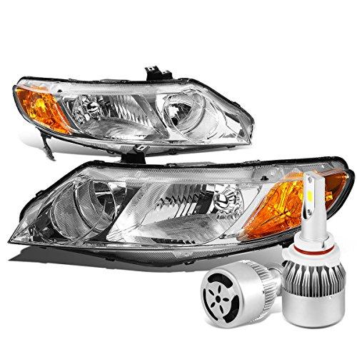 For Honda Civic 8th Gen 4DR Sedan Pair of Chrome Housing Amber Corner Headlight + 9006 LED Conversion Kit W/Fan