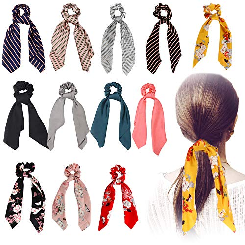 Silk Satin Hair Scrunchies Scarf, 12 Pcs Ribbon Bow Scrunchies, Soft Scarf Hair Ties Bowknot Ponytail Holder for Women Girls, Including 4 Solid Colors & 4 Stripe Styles & 4 Flower Pattern