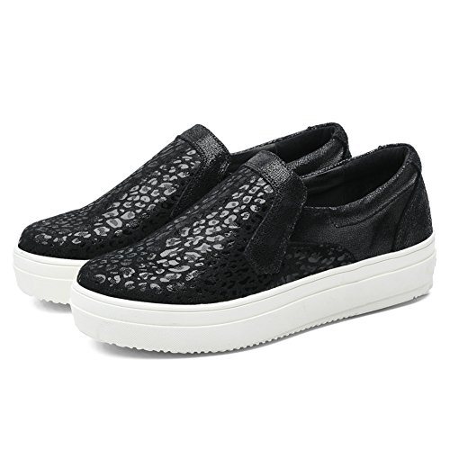 TIOSEBON Womens High Platform Loafer Shoes Sequins Flats Fashion Slip On Sneakers 6305 Black DRGo4