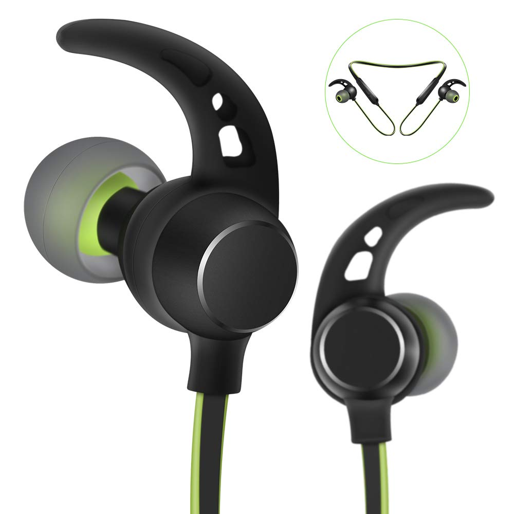 Artiste Sports Earphones Earbuds with Magnet Mic,Anti-Jam V4.1 Heavy Bass,6Hours Play Time,Sweatproof Exercise Earphones for Wireless Devices-Green/Black(Android/iOS)