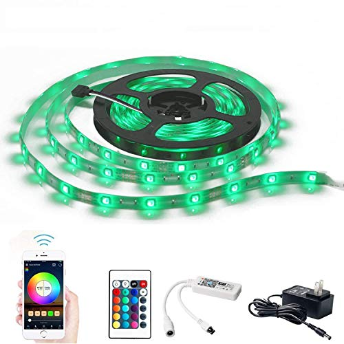 WiFi Smart RGB Strip Light Kit 32.8ft 5050 SMD LEDs Smartphone App Control Multicolor Rope Lights, Compatible with Alexa Google Home Siri