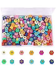 SAVITA 200 Stks Spacer Kralen Polymeer Bloem Smiley Kralen Kleurrijke Kralen voor Armbanden Kettingen Sieraden Maken (Willekeurige Kleuren)
