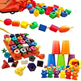 Skoolzy Preschool Learning Toys Set - Stringing Beads, Counting Bears & Stacking Shape Sorter Pegboard - Matching Montessori Fine Motor Skills Occupational Therapy Toys Matching Travel Activities